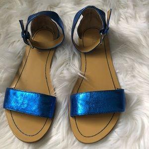 Metallic Blue Nine West Sandals